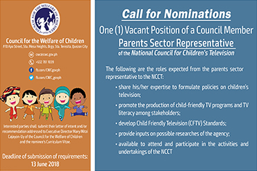 Call for Nominations: One (1) Vacant Position of a Council Member (Parents Sector Representative of the NCCT)